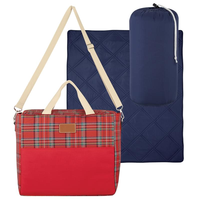 Tartan Cooler Bag With Puffy Blanket