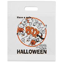 12 W x 14-7/8 H x 3 - Hallowen Theme - Ghost White Plastic Tote Bags - 2.5 mil. orange plastic bag with fold-over die cut handles and bottom gusset. Stock designs feature educational safety tips.Add your custom imprint to the opposite side of the bag.