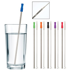 Stainless Steel Straw with Cleaning Brush - Reusable straw includes wire cleaning brush. Hnad wash recommended.