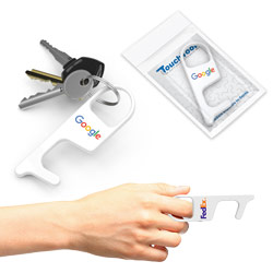 No-Touch Tool - Avoid touching public surfaces and reduce exposure to germs! Use the No-Touch Tool to pull open doors, turn locks, push buttons on ATM or elevator, hook grocery bag, lift mailboxes, and more! This slim and compact product easily attaches to your keychain, is made of ABS, and includes an instructional insert card.