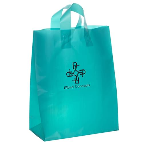 5 W x 3 x 7-7/8 H - Colorful Frosted Plastic Shopping Tote Bags