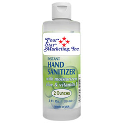 2 Oz. Hand Sanitizer w/ Aloe & Vitamin E - USA Made - Imprinted - In stock NOW and ready to ship! 2 oz. gel hand sanitizer with moisturizers aloe and vitamin E. Made in the USA. 70% ethyl alcohol formula is effective at eliminating 99.9% of many common harmful germs and bacteria. Includes your full-color logo on a custom sticker, which is then applied to the bottle.