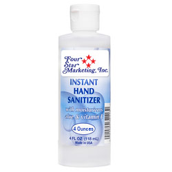 4 Oz. Hand Sanitizer w/ Aloe & Vitamin E - USA Made - Imprinted - In stock NOW and ready to ship! 4 oz. gel hand sanitizer with moisturizers aloe and vitamin E. Made in the USA. 70% ethyl alcohol formula is effective at eliminating 99.9% of many common harmful germs and bacteria. Includes your full-color logo on a custom sticker, which is then applied to the bottle.