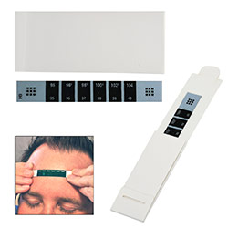 Reusable Forehead Thermometer - This reusable thermometer meets FDA requirements and has a iquid crystal display that stops at cor temperature for a quick and easy reading. Use indoor and at room temperature. Avoid taking temperature in direct sunlight. Bulk thermometers are shipped in sheets.