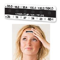 Disposable Forehead Thermometer - Single Use thermometer takes temperature in Celsius and Fahrenheit. Adhesive back to stick on forehead.