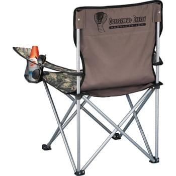 Hunt Valley® Event Chair - For the hunter within; this chair is perfect for the great outdoors. Folds to fit into a carrying case with shoulder strap. Armrests with built-in cup holders.