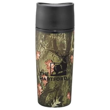 Hunt Valley® Tumbler 12oz - For the hunter within, this camouflage tumbler allows you to enjoy your beverage without standing out.  Innovative push button lid allows you to drink with one hand.  Stainless outer, PP inner.  Black ink only.  BPA Free.  Exclusive. 12oz