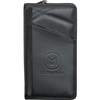 elleven Jet Setter Travel Wallet - Take storage and organization to a whole new level for any jet setter.  Features a quick storage passport slot, four slotted pockets for credit cards, mesh ID holder, zippered coin pocket, pen holder, slotted pocket for boarding pass, and a techtrap area for a Smartphone, USB Memory, or other item.
