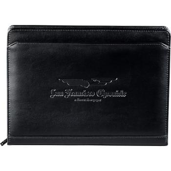 "Manchester Zippered Padfolio - Zippered closure. Accordion business card file and multiple file pockets. Card holder with closure can also serve as USB holder for flash memory devices. Includes 8.5"" x 11"" writing pad and built-in solar calculator."