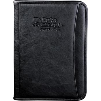 "DuraHyde Zippered Padfolio - Zippered closure. Interior organizer with gusseted file pocket. Clear ID or calculator pocket. Front slot pocket. Includes 8.5"" x 11"" writing pad."