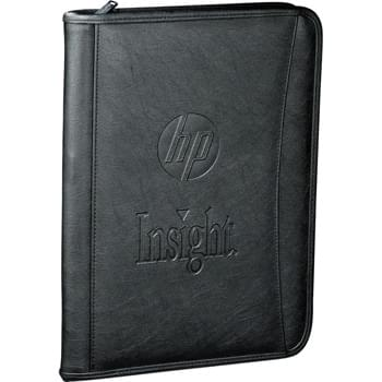 "Durahyde Tech Padfolio - Zippered closure. Front cover document pocket. iPad holder integrated into interior organizational panel. Organizational panel features three pen, stylus or USB memory ports, five business card pockets and a clear ID window.  Gusseted document pocket.  Includes 8.5"" x 11"" writing pad. This case fits iPad 1/2/3/4 and iPad Air.  Refills available at www.leedsworldrefill.com. Refill item # 9091-01RF."