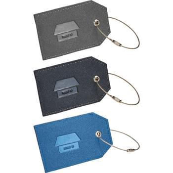 Modena Luggage Tag - Premium, textured UltraHyde material. Metal wire with twist action closure to attach tag to luggage or strap.
