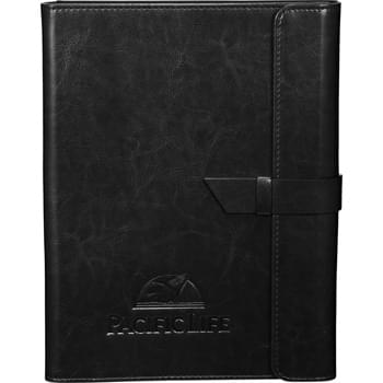 "Abruzzo Padfolio - Exterior flap with tab and loop closure. Faux suede interior lining. Interior tablet pocket accommodates up to 10"" tablets including all versions of iPad including the iPad Air and Samsung Galaxy. Scratch proof lining protects your tablet. Interior organizer with document pocket and business card slot. Pen or stylus loops and elastic loop to hold your phone. Includes 30 sheet writing pad."