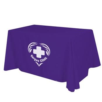 "Flat 4-sided Table Cover - fits 6' standard table - Made of 65%/35% Poly/Cotton Twill (Weight 7-7.5 Oz/Sq. Yard) For All Colors Excluding Forest Green & Black | To Avoid Dye Migration, Forest Green & Black Use 100% Cotton Twill (Weight 8-8.5 Oz/Sq. Yard) Fabric (This Keeps White Imprints From Changing Colors) | Fits Table Size: 72"" W x 29"" H x 30"" D 