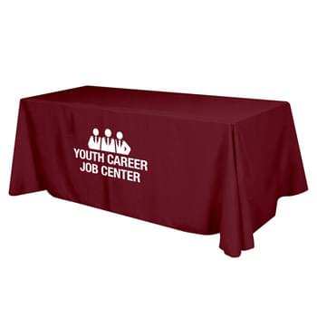 "Flat Poly/Cotton 4-sided Table Cover - fits 8' standard table - Made of 65%/35% Poly/Cotton Twill (Weight 7-7.5 Oz/Sq. Yard) For All Colors Excluding Forest Green & Black | To Avoid Dye Migration, Forest Green & Black Use 100% Cotton Twill (Weight 8-8.5 Oz/Sq. Yard) Fabric (This Keeps White Imprints From Changing Colors) | Fits Table Size: 96"" W x 29"" H x 30"" D 
