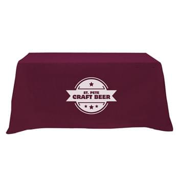 "Flat 3-sided Table Cover - fits 6' standard table - Made of 65%/35% Poly/Cotton Twill (Weight 7-7.5 Oz/Sq. Yard) For All Colors Excluding Forest Green & Black | To Avoid Dye Migration, Forest Green & Black Use 100% Cotton Twill (Weight 8-8.5 Oz/Sq. Yard) Fabric (This Keeps White Imprints From Changing Colors) | Fits Table Size: 72"" W x 29"" H x 30"" D 