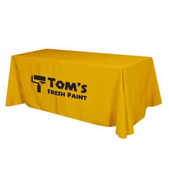 "Flat Poly/Cotton 3-sided Table Cover - fits 8' standard table - Made of 65%/35% Poly/Cotton Twill (Weight 7-7.5 Oz/Sq. Yard) For All Colors Excluding Forest Green & Black | To Avoid Dye Migration, Forest Green & Black Use 100% Cotton Twill (Weight 8-8.5 Oz/Sq. Yard) Fabric (This Keeps White Imprints From Changing Colors) | Fits Table Size: 96"" W x 29"" H x 30"" D 
