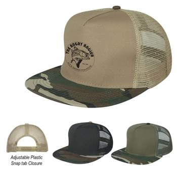 Flat Bill Camo Cap - CLOSEOUT! Please call to confirm inventory available prior to placing your order!<br />100% Polyester Cap With Cotton Bill | 5 Panel, Medium Profile | Structured Crown & Flat Bill Visor   | Mesh Back With Adjustable Plastic Snap Tab Closure