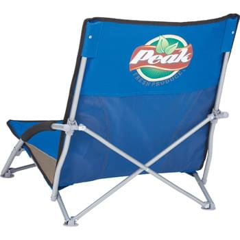 Low Sling Beach Chair - Foldable and lightweight, this low slung beach chair is perfect for spending a day in the sand. Folds up and fits into the included carrying case with strap for easy transporting and storage. Includes an integrated cup holder. Loading weight limit 300lbs.