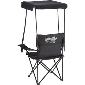 Game Day Premium Canopy Chair - PolyCanvas outdoor chair folds up and fits into carrying case with strap for easy transporting and storage. Features a detachable canopy for protection from the sun or drizzle and armrest with built-in cup holder. Some assembly required. Loading weight limit: 300lbs.