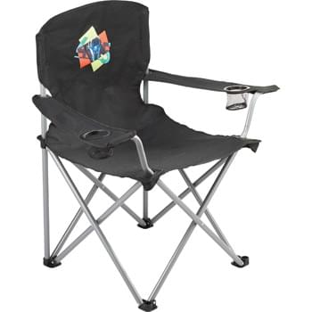 Oversized Folding Chair (500lb Capacity) - This extra-wide, extra-strong folding chair is ideal for a long day on the sidelines or enjoying a drink by the grill. With an extra sturdy steel frame and durable 600D fabric this chair has a loading weight limit of 500 lbs. This XL chair had two mesh cup holders and folds compactly for easy transporting and storage in the included carry bag.  Available for one-day turn with Sureship®.