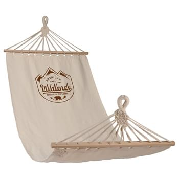 Natural Hammock - Comfortable natural cotton hammock, holds 220 lb max. Natural cotton and wood construction. Included the ropes needed to tie to a secure object (such as tree).