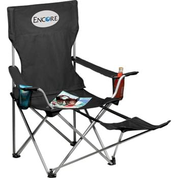 Game Day Lounge Chair - Put up your feet and relax in our Game Day Lounge Chair, perfect for the camp site, home or your next tailgate. Durable 600d polyester material will support up to 300 lbs. and folds to fit into a matching 210 polyester carrying case with shoulder strap. Includes adjustable foot rest and two cup holders. Some assembly required.