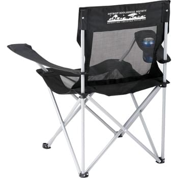 Mesh Camping Chair - Take this lightweight and durable chair with you next time you go camping or tailgating with friends. The breathable mesh fabric will keep you cool and comfortable during any outdoor event. Folds up and fits into a convenient carrying case with strap. Armrests with built-in cupholders.