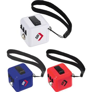 Clicker Cube - The Clicker Cube is perfect for anyone who can't concentrate in class or meetings and needs to constantly fidget with something in their hand.  This 6 sided cube allows you to click, glide, flip and roll with a convenient carrying strap. CPSIA Compliant