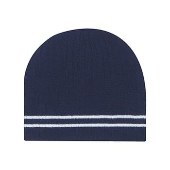 Ribbed Knit Beanie With Double Stripe - 100% Ribbed Acrylic | One Size Fits All