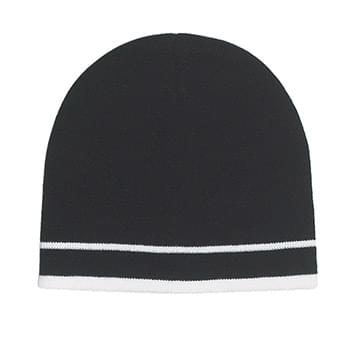 Knit Beanie With Double Stripe - 100% Acrylic | One Size Fits All | Comes In 7 Great Colors!