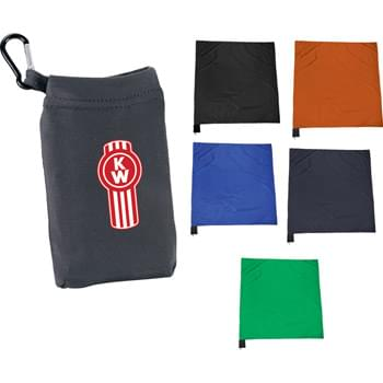 "Stow n Go Picnic Blanket - Ultra compact and water resistant, this blanket is ready for the outdoors.  Perfect for picnics, concerts, sporting events or even to the beach, this is the ultimate go anywhere blanket.  The 44"" X 55"" polyester blanket folds down to a compact 4"" X 6"" and stows neatly into the attached pouch.  Use the caribiner to clip it to a bag or slip it into a pocket and go."