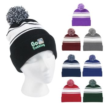 Two-Tone Knit Pom Beanie With Cuff - 100% Acrylic | One Size Fits All | Comes In 8 Great Colors!