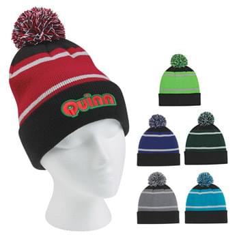 Tri-Tone Striped Pom Beanie With Cuff - 100% Acrylic | One Size Fits All | Comes In 6 Great Colors!