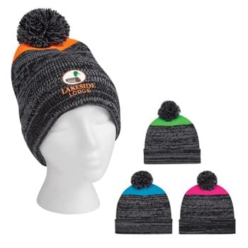 Knit Heathered Pom Beanie With Cuff - 100% Acrylic | One Size Fits All | Comes In 4 Great Colors!