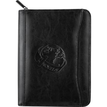 "Renaissance Jr. Zippered Padfolio - Zippered closure. Interior organizer with gusseted file pocket. Front pocket. 3 business card holders. Pen loop. Clear ID or calculator  window.  Holds Kindle and Nook products. Includes 5"" x 8"" writing pad."