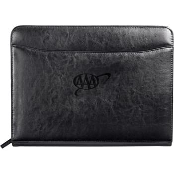"Renaissance Zippered Padfolio - Zippered closure. Interior organizer with gusseted file pocket, business card pockets and calculator pocket. Front pocket. Pen loop. Includes 8.5"" x 11"" writing pad."