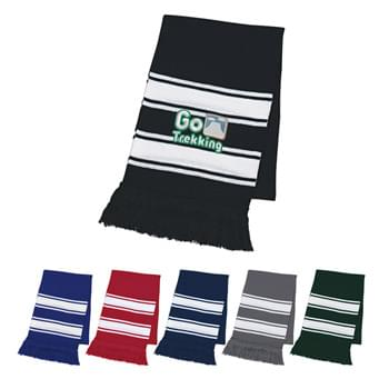 "Two-Tone Knit Scarf With Fringe - 100% Acrylic | 63"" L x 9 1/2"" W 