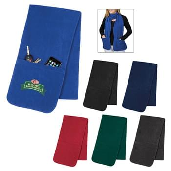 "Fleece Scarf With Pockets - Made Of 100% Polyester Fleece | 9"" Deep Pockets On Ends 