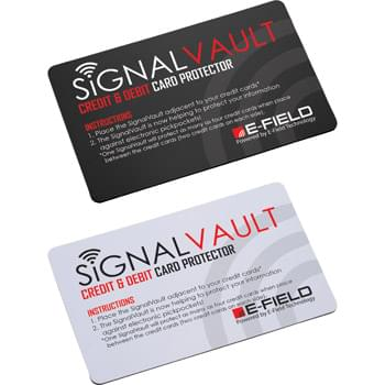 "Signal Vault RFID Card - The SignalVault uses electric-field technology that makes your information inaccessible to hackers. The SignalVault utilizes Dual-Stage Protection, which not only blocks but actively jams hackers. It protects all chipped credit cards and debit cards for three years and provides laboratory-tested protection without charging or batteries. Featured on popular TV shows like ""Shark Tank"" and ""Good Morning America,"" the SignalVault is continuously tested and updated to defend against new hacking technology. One S"