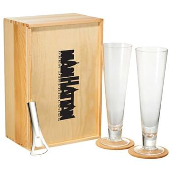 Bullware Pilsner Set - Grabbing booze by the horns. This six piece Bullware Pilsner Set includes two glasses, two cork coasters, a metal bottle opener, and a wood storage box. Stir up the Bull.  Shake up the night.  Live classy.