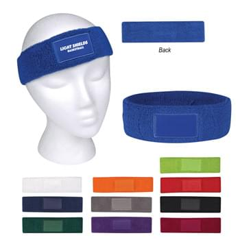 Sweatband With Patch - 100% Cotton Terry Cloth | Available in 11 Popular Colors!