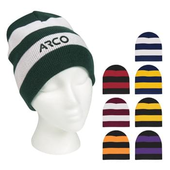 Rugby Stripe Knit Beanie - 100% Acrylic  | One Size Fits All