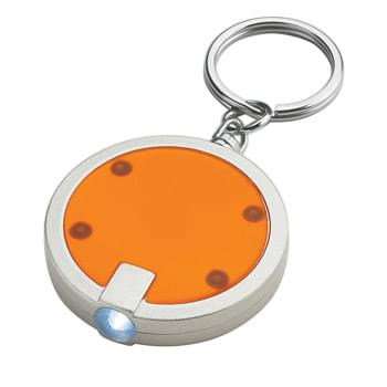 Round LED Key Chain - Push Button To Turn On Light