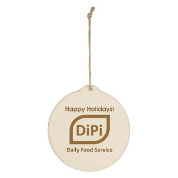 Wood Ornament - Circle - Includes String For Hanging | Great For Holiday Giveaways