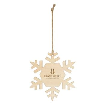 Wood Ornament - Snowflake - Includes String For Hanging | Great For Holiday Giveaways