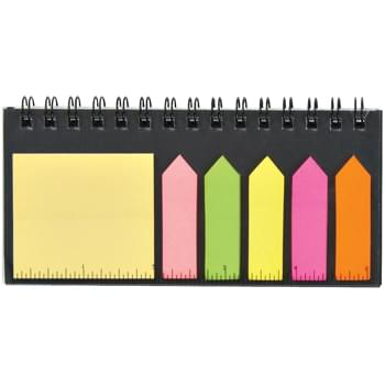 "Multi-Use Desk Set - Sticky Flags In 5 Neon Colors | Sticky Notes | 40 Page Lined Notebook | 5"" Ruler On Cover"