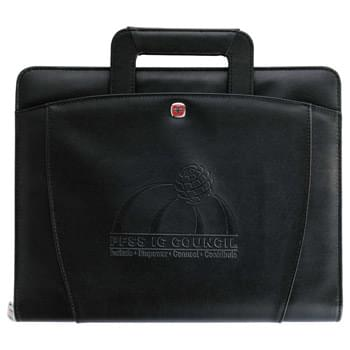 "Wenger Presentation Portfolio Bundle Set - Set includes 9355-77 Wenger Presentation Portfolio and 1065-11 Wenger Expedition Twist. Zippered closure. Hideaway handles. Removable 1.25"" three ring binder. Includes 8.5"" x 11"" Wenger writing pad."