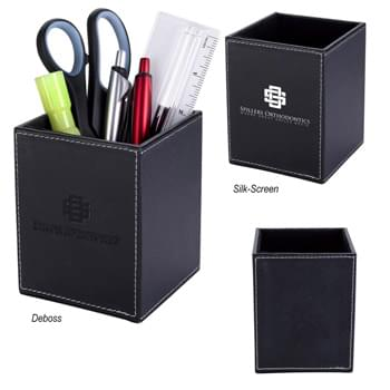Executive Pen & Pencil Cup - Polyurethane Leatherette With Velvet Interior