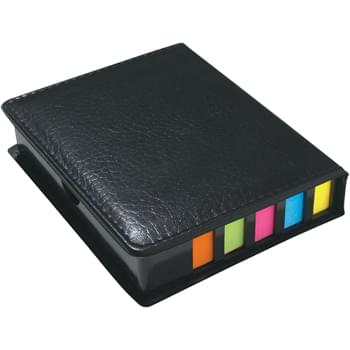 Square Leather Look Case Of Sticky Notes With Calendar & Pen - Sticky Notes | Sticky Flags In 5 Neon Colors